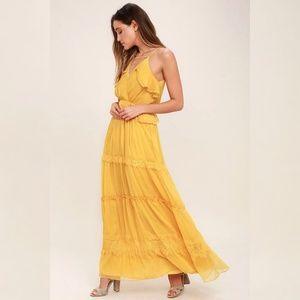 Adelyn Rae I Know Your Secret Gold Boho Maxi Dress